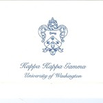 Fold-over Card, Reflex Blue Thermography (raised print) Font #9, Kappa Kappa Gamma