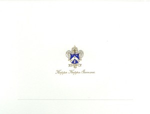 Kappa Kappa Gamma 2-color steel die engraved fold-over card
