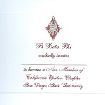 2-color engraved flat card, wine thermography, font #8, Pi Beta Phi bid card