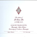 2-color engraved flat card, wine thermography, font #9, Pi Beta Phi bid card