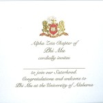 2-color engraved flat card, gold thermography, font #9, Phi Mu bid card