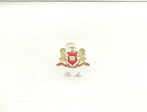 Steel Die Engraved Fold -over Note Cards,  Phi Mu