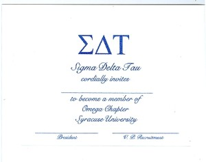 Flat Panel Card,R.Blue Thermography (raised print), Font #9 Sigma Delta Tau