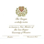 3-Color Engraved Flat Card, Gold Thermography (raised print) Font #9, Chi Omega bid