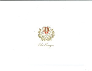 Chi Omega 2-color steel die engraved fold-over card