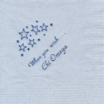 Chi Omega gray napkin, royal blue foil when you wish