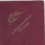 Napkin, color discontinued, Gold Foil Field of Stars, Font Garamond, Chi Omega