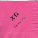 Napkin, Hot Pink, Black Foil Greek Letters, Font Park Avenue, Chi Omega