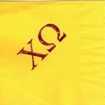 Napkin, Sunflower yellow, Red Foil Large Greek Letters, Chi Omega