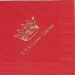 Zeta Tau Alpha Napkins, Red, Gold Foil Crown #3, Font Garamond