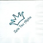 Napkin, White, Teal Foil, Crown #1with special font, Zeta Tau Alpha