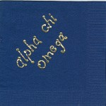 Napkin, Dark Blue, Gold Foil Bubble Letter Lower Case, Alpha Chi Omega