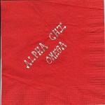Napkin, Red, Silver Foil Bubble Lettering Upper Case, Alpha Chi Omega