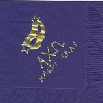 Napkin, Purple, Gold Foil, Mask, Greek Letters, Mardi Gras, Alpha Chi Omega