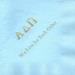 Napkin, Light Blue, Gold Foil, Font Garamond, Alpha Delta Pi Greek Letters