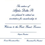 Bid card inside Message, font #5. You choose wording and font. Alpha Delta Pi
