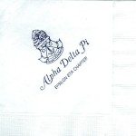 Napkin, White, Navy Ink, Alpha Delta Pi crest with chapter name