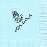 Napkin, Light Blue, Black Ink Crest, Alpha Delta Pi