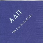 Napkin, Purple, White Foil Greek Letters, Font PA, Alpha Delta Pi