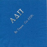 Napkin, Royal Blue, Silver Foil Greek Letters, Font Garamond, Alpha Delta PI