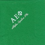 Napkin, color discontinued, White Foil Greek Letters, Font PA, Alpha Epsilon Phi