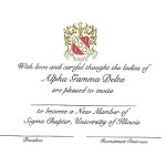 Engraved Flat Card Font #9, Black ink Alpha Gamma Delta