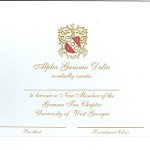 Engraved Flat Card Gold Ink Thermography Alpha Gamma Delta