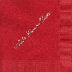 Napkin, Red, Gold Foil, Font #8 Large Alpha Gamma Delta