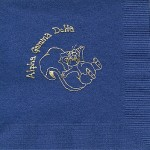 Napkin, Dark Blue, Gold Foil Squirrel, Alpha Gamma Delta