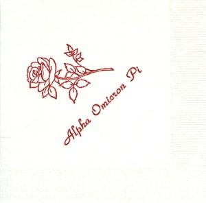 Napkin, Red Foil on White napkin, Alpha Omicron Pi