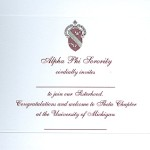 2-color engraved flat card, new artwork, wine Ink, Font #8, Alpha Phi