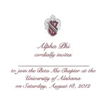 2-color engraved flat card, wine ink, Font #9, Alpha Phi
