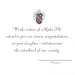 2-color engraved flat card, Parent's Card, wine ink, Font #2, Alpha Phi