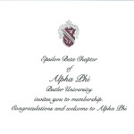 2-color engraved flat card, black ink, font #9, Alpha Phi