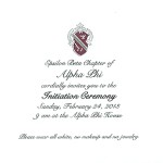 2-color engraved flat card, Initiation Invitation, Black Ink, Font #9, Alpha Phi
