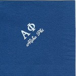Napkin, Dark Blue, White Foil Greek Letters, Font PA, Alpha Phi