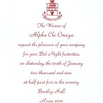 Raised Ink flat card, vertical, red thermography, font #2, Bid Night Invite, Alpha Chi Omega