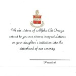 Engraved Flat Card Font #2, Black Ink Alpha Chi Omega