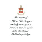 Engraved Flat Card Font #9, Black Ink Alpha Chi Omega
