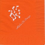 Napkin, Orange, White Foil, Musical Notes, Font PA Alpha Chi Omega