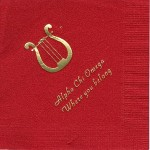 Napkin, Red, Gold Foil National Office Lyre, Alpha Chi Omega, Font Park Ave