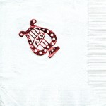 Napkin, White, Red Foil, AXO Lyre Pin design Alpha Chi Omega