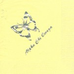 Napkin, Yellow, Silver Foil, Butterfly, Font SP Alpha Chi Omega
