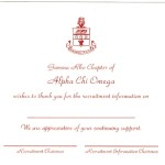 Post Card, White Card Stock, Red Ink, Alpha Chi Omega, Font #2