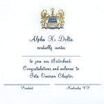 2-color Engraved Flat Card, Reflex Blue Thermography, Font #38, Alpha Xi Delta bid card