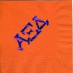 Napkin, Bright Orange, Purple Foil Modern Greek Letters, Alpha Xi Delta