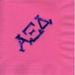 Napkin, Hot Pin, Purple Foil, Modern Greek Letters, Alpha Xi Delta