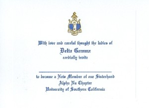 Font #10, Delta Gamma Bid Card, Engraved Flat Card,