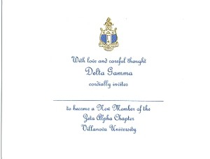 Delta Gamma Bid Card, Engraved Flat Card, Font #11