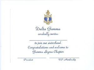 Engraved Flat Card, Delta Gamma bid card, Font #2